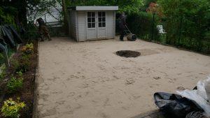 Mise en place du sable et ompactage