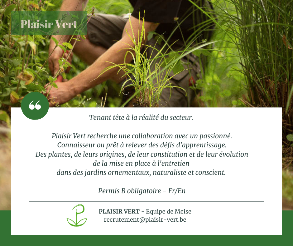 Plaisir Vert recherche un jardinier passionné